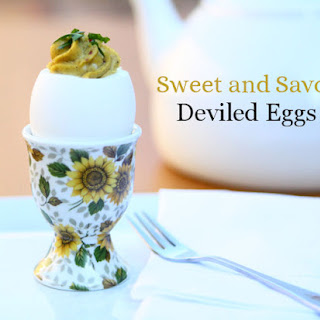 Sweet & Savory Deviled Eggs in Sunflower Egg Cups