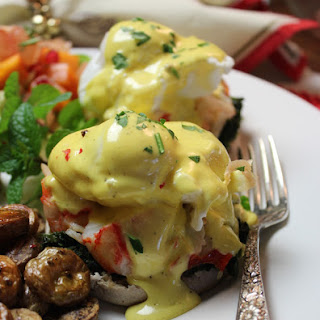 Lobster Eggs Benedict with Wilted Spinach & Truffle Hollandaise