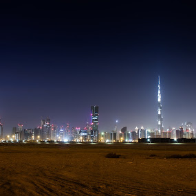 Dubai Downtown by Sebastian Tontsch - City,  Street & Park  Skylines ( dubai downtown skyline night burj khalifa )