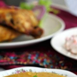 Rice, Tandoori Chicken, Dal and Raita