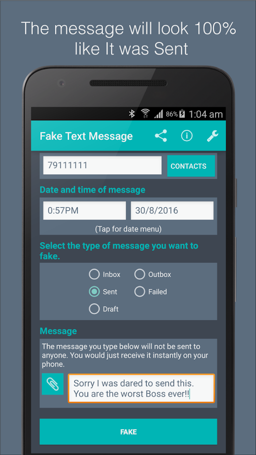 Fake Text Message- screenshot