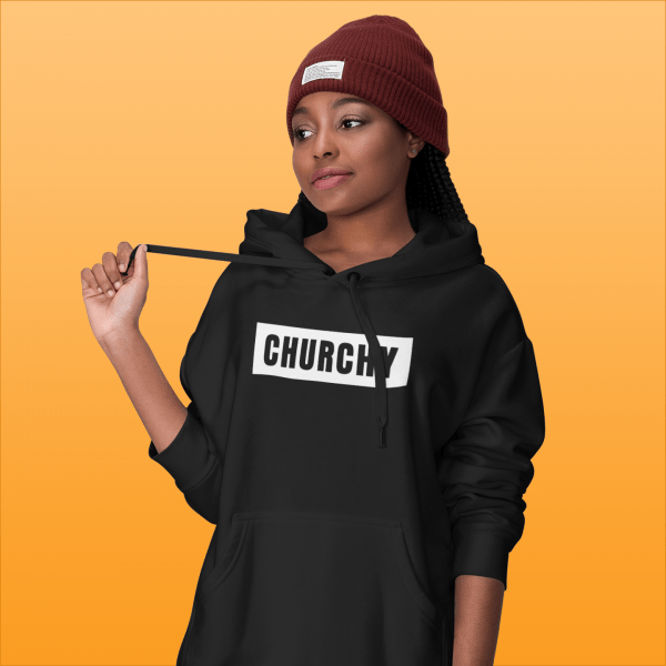 A model wearing Churchy Life's hoodie