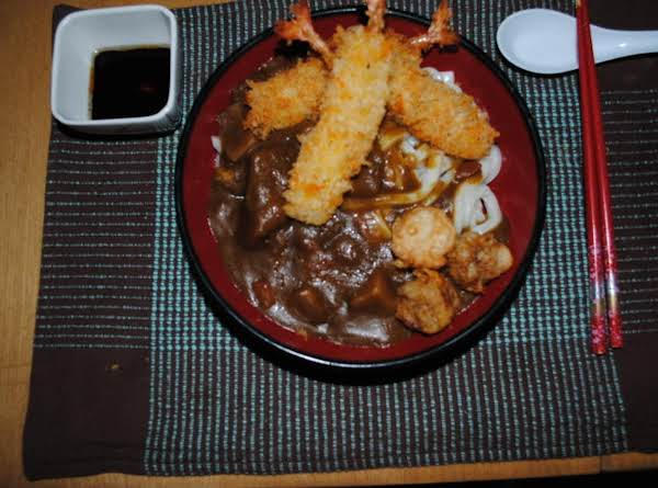 Curry Udon With Breaded Shrimp
