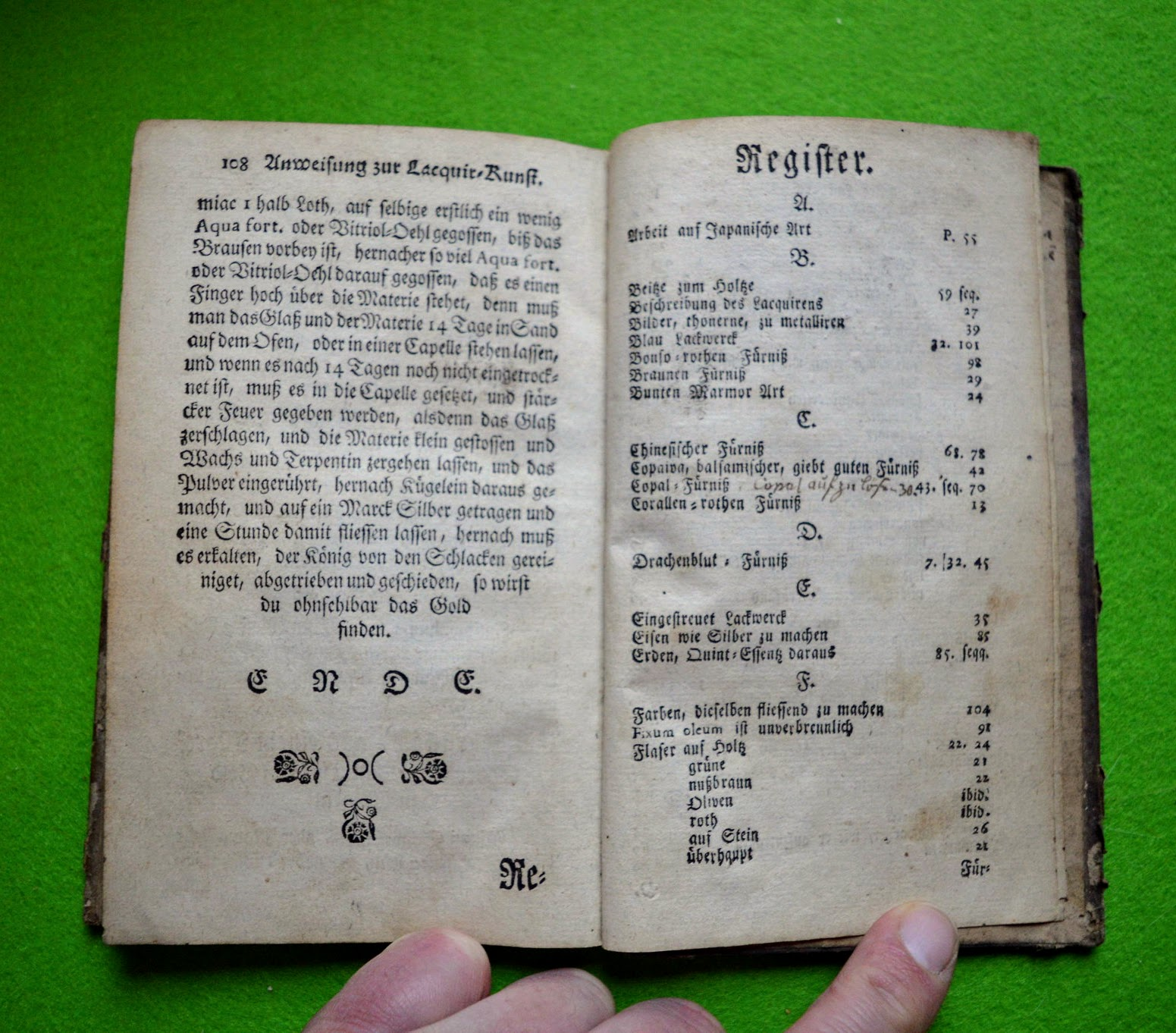 Lackierbuch 1755 - Aus Silber Gold machen und Register