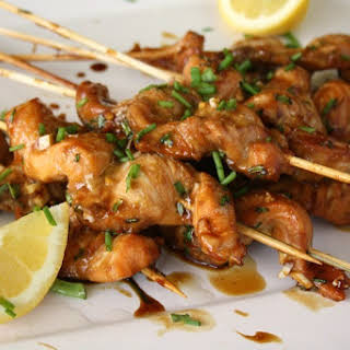 Molasses and Soy Glazed Salmon Skewers.