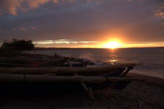 Photo: Fishing dhows at sunset on the beach near Maringanha