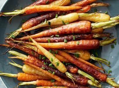 Roasted Potatoes And Rainbow Carrots