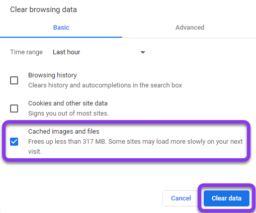 Clear browsing data - cached images and files - google chrome