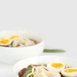 Sesame-Ginger Daikon Noodle Soup with Bok Choy, Snow Peas and Shiitake Mushrooms.