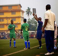 Photo: Santigie Koroma (CBF) comes on (76 min) to make his debut for Sierra Leone U20 [versus Guinea in 2015 CAF U-20 first round qualifying (Picture: Myrthe van Vliet)]