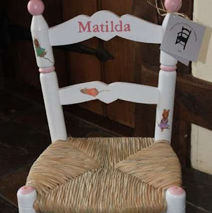 a kids chair with Matilda written on it