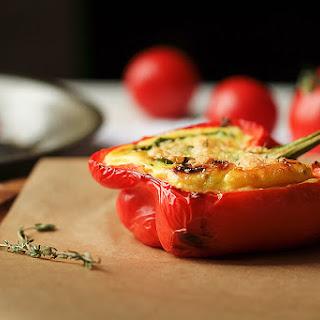 Vegetarian Three Cheese Quiche Stuffed Peppers Recipe