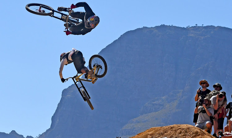 Nico Vink of Belgium and Andreau Lacondeguy from Spain show off their freeride mountain-biking skills at DarkFEST 2019 in Stellenbosch at the weekend.