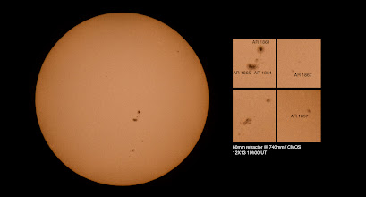 Photo: THE SUN - Sunspots AR1861 and AR1865  have 'beta-gamma-delta' magnetic fields that harbor energy for X-class solar flares.