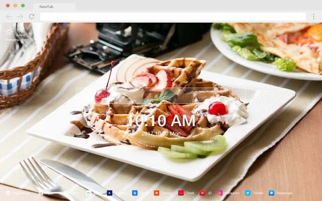 Waffles New Tabs HD Popular Foods Themes