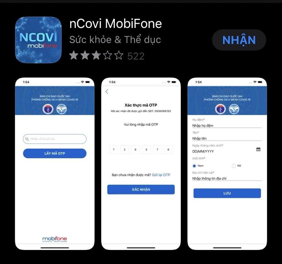 2. Trên điện thoại, máy tình bảng dùng hệ điều hành IOS (iphone, ipad): Vào App Store, tìm kiếm cụm từ nCovi,  nhận cài đặt phần mềm nCovi MobiFone do Mobifone cập nhật.