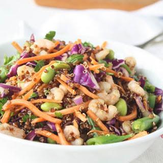 Quinoa Shrimp Salad + Sesame-Ginger Dressing.