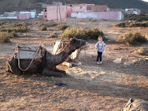 Photo: Bivouac à Dou Imzi - au lendemain le ciel est clair. Heureusement, car tous nos habits sont saturés d'humidité de rosée. Les maisons que vous voyez en arrière-plan sont des villas, édifiées par des Marocains aisés sur le littoral, aux côtés d'un modeste village de pêcheurs. L'enrichissement des classes moyennes au Maroc amène à répéter les mêmes erreurs qu'en France dans les années 60-70.