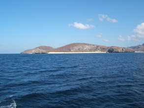 Photo: On our way to a snorkel site, we pass the peninsula that juts out into the Gulf east of La Paz.