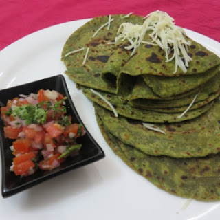 Fusion Spinach Parathas With Onion-Tomato Salsa