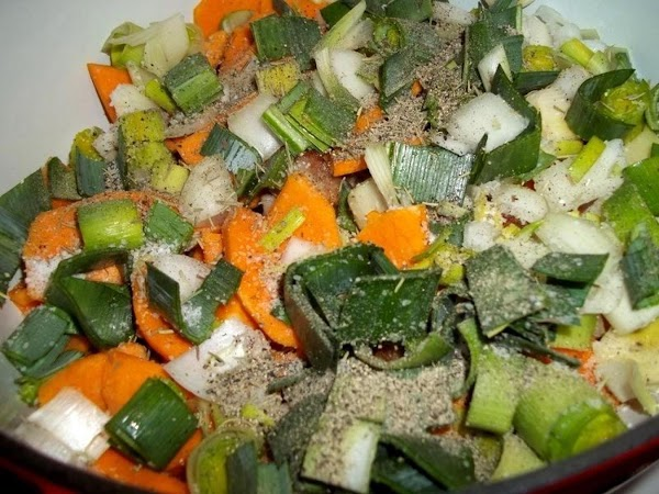 Once pork is all browned and in baking dish, add the squash or carrots,...