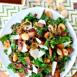Warm Kale Salad with Bacon, Dates, Almonds, Crispy Shallots and Parmesan