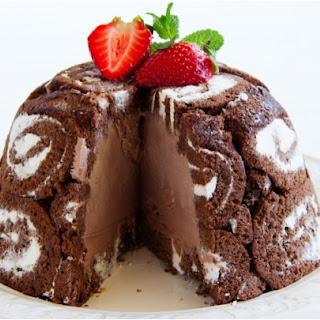Chocolate Charlotte royale cake.