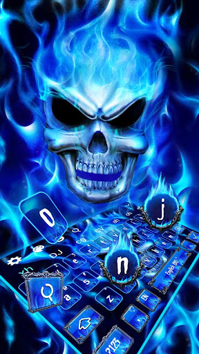 Blue Fire Flaming Skull Keyboard 10001003 screenshots 1