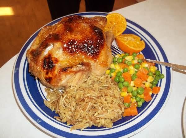 Orange Marmalade Cornish Hen, Rice (your Choice) Mixed Veggies