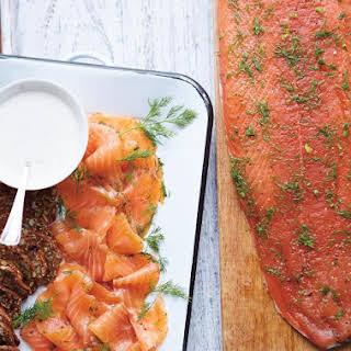 Gin and Honey-Cured Salmon Gravlax.