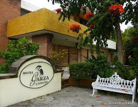 Photo: Our fine lodging at Hotel Garza Canela, named for the Boat-billed Heron