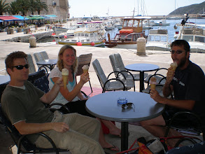 Photo: Ben, Emma and Mick with the ever popular icecream, Komiza, Vis Island