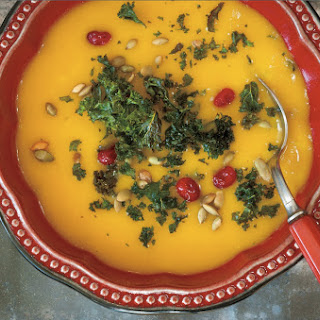 Bourbon Apple Butternut Squash Soup With Roasted Kale