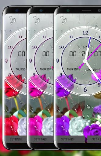 Rose Analog Clock 3D: Rain Drop Live Wallpaper HD 1.3 screenshots 3