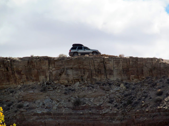 The Jeep on the rim of Iron Wash