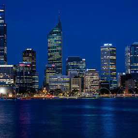 New Perth by Gary Tindale - City,  Street & Park  Skylines ( cbd, perth, blue, night, hour, city )