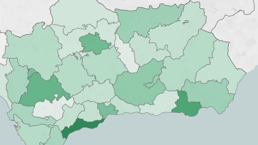 El mapa de la incidencia del covid en los distritos sanitarios de Andalucía.