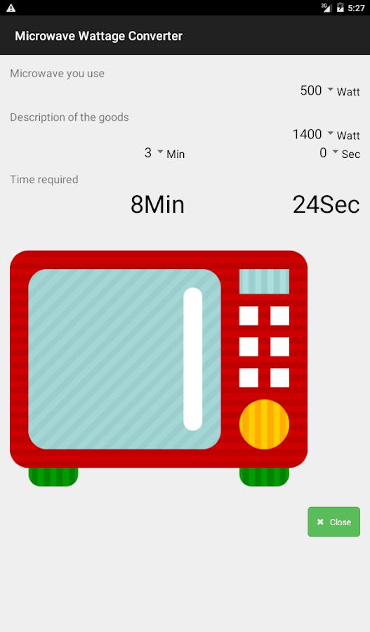 Microwave Wattage Converter Screenshot