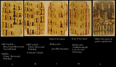 """Photo: Images taken from 'Darlow' of the Jaques designs  Darlow refers to A as being """"one of the 62/65 pages which survived* from the Jaques Pattern Book of 1795 to 1870"""". He also refers to B-E as from the """"1849 John Jaques & Son catalog"""".  Fersht mentions that the surviving* pages include a further page, not illustrated in Darlow, devoted to Staunton sets. Based on the latter, he states that they are in the 1852-55 style. It goes on to mention that, as can be seen, each set design has had its original details """"stuck over with labels that correspond to those in the 1880's and 1890's"""".  The exact nature and purpose of these pages, their date of origin and whether all pages are contemporaneous, is therefore uncertain from the details available. I use the term 'Pattern Book' here with no specific intended meaning.  This album will concentrate on the bone sets (numbered 16-24) as shown at C, above.  Whilst evident, it is worth noting that rarely are all pieces shown in any single set design."""