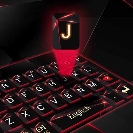 red laser dark keyboard future glass neon