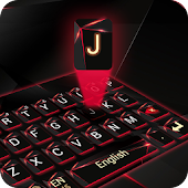 red laser dark keyboard future glass neon