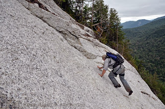 Photo: Traversing from a ledge to some overlaps.