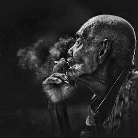 SMOKER... by Abe Less - People Portraits of Men ( senior citizen )