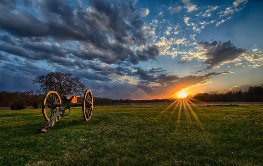 Sunset on the battlefield by Theresa Rasmussen - City,  Street & Park  City Parks ( canon, battlefield, starburst, sunset, chancellorsville, fredericksburg )