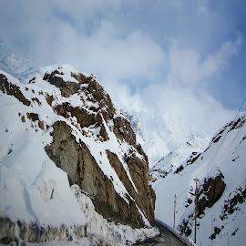 mounts by Fereshteh Molavi - Landscapes Mountains & Hills ( road, snow, wier, clouds )