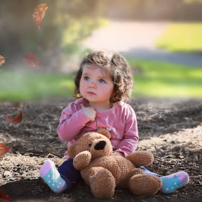 Autumn Leaves by Una Williams Photos - Babies & Children Child Portraits ( girl, autumn, baby, leaves, teddy )