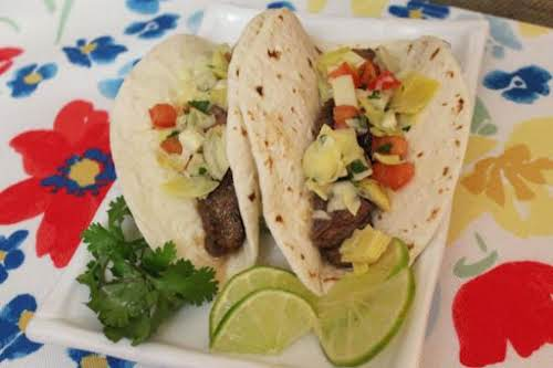 "Beef and Artichoke Salsa Tacos ""These will become a staple at your..."