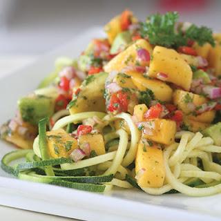 Summer Mango & Avocado Salsa on Zucchini Noodles