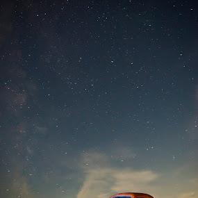 Studebaker Under the Stars by Evan Jones - Transportation Automobiles ( moon, studebaker, pickup, vintage, truck, tow truck, rusty, rustic, clear sky, milky way, stars, lightpainting, night )