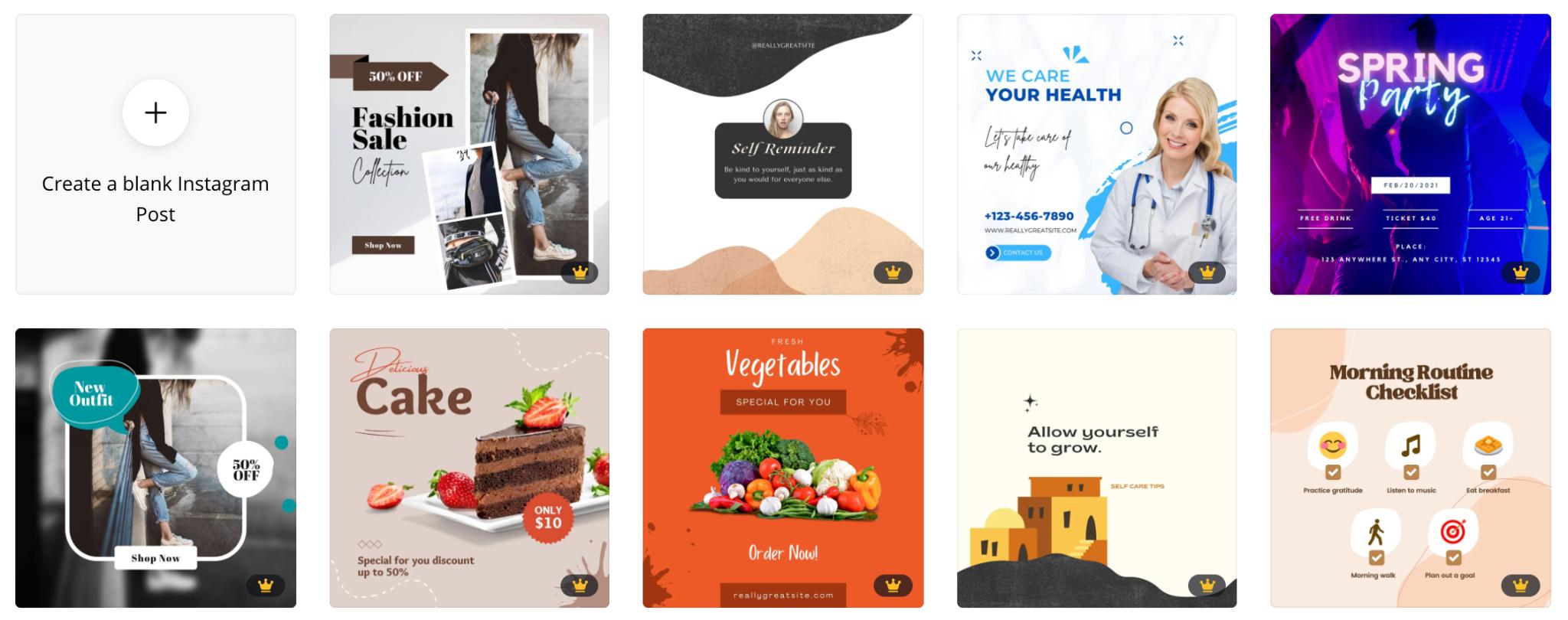 instagram theme templates